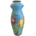 Hour Glass Vase with Tulips on Turquoise