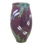 Luna Vase with Dragonflies on Red Plum