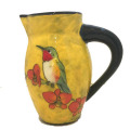 Small Pitcher with Hummingbird on Buttercup Yellow