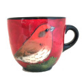 Large Cup with Finch on Cherry Cherry