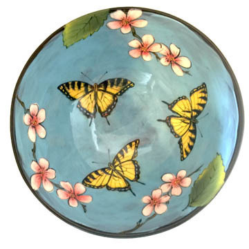 Medium Serving Bowl with Swallowtails on Turquoise