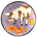Salad Plate with Pig on Blue Plum