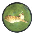 Dessert Bowl with Cat on Grass Green