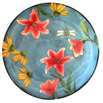 Medium Platter with Lillies on Turquoise