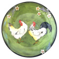 Dinner Plate with Chickens on Grass Green