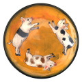 Salad Plate with Pigs on Hibiscus