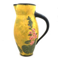 Medium Pitcher with Hollyhocks on Buttercup Yellow