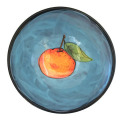 Dessert Bowl with a Tangerine on Turquoise