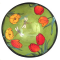 Large Serving Bowl with Tulips on Grass Green
