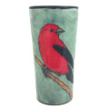 Tumbler with a Red Tanager on Light Bermuda
