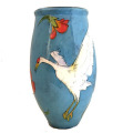 Luna Vase with Cranes on Turquoise