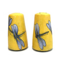 Thimble Salt and Pepper Shakers with Dragonflies on Sunshine