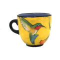 Large Cup with Hummingbird on Buttercup Yellow