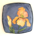 Square Salad Plate with Irises on French Blue