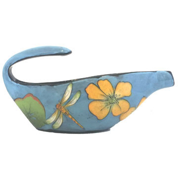 Gravy Boat with Dragonflies on Turquoise