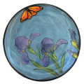Salad Plate with Irises on Turquoise