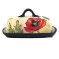 Butterdish with Poppies on Peach Blush