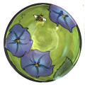 Dessert Bowl with Morning Glories on Grass Green