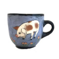 Large Cup with Pigs on French Blue