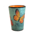 Gin Tumbler with Monarchs on Light Bermuda