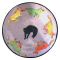 Medium Platter with Cat and Dogs on Blue Plum