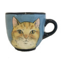 Large cup with a Cat and Mouse on Turquoise