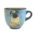 Large Cup with a Pug on Turquoise