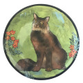 Salad Plate with Cat on Grass Green