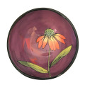 Dessert Bowl with a Cone Flower on Viva Violet