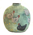 Flat Vase with Chickens on Light Bemuda