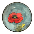 Bread and Butter Plate with Oriental Poppies on Turquoise