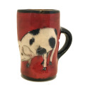 Espresso Cup with a Pig on Cherry Cherry