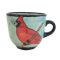 Large Cup with a Cardinal on Light Bermuda