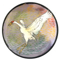 Salad Plate with a Crane on Blue Plum