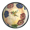 Medium Serving Bowl with Morning Glories and a Hummingbird on Peach Blush