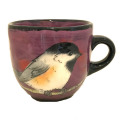 Large Cup with a Chickadee on Viva Violet