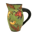 Small Pitcher with Frogs on Grass Green