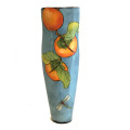 Tall Vase with Persimmons and Dragonflies on Turquoise