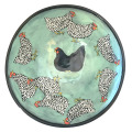 Medium Serving Bowl with Chickens on Light Bermuda