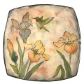 Large Platter with Irises and Hummingbird on Peach Blush