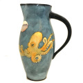 Medium Pitcher with Octupuses on Turquoise