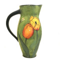 Medium Pitcher with Tulips and Dragonflies on Grass Green