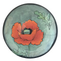 Bread and Butter Plate with an Oriental Poppy on Light Bermuda