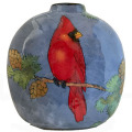 Flat Vase with a Cardinal on French Blue