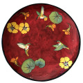 Large Platter with Hummingbirds and Nasturtiums on Cherry Cherry