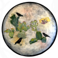 Large Platter with Ravens and Cactus on Peach Blush