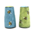 Thimble Salt and Pepper Shakers with Bees on Turquoise and Grass Green