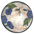 Medium Serving Bowl with a Hummingbird and Morning Glories on Peach Blush